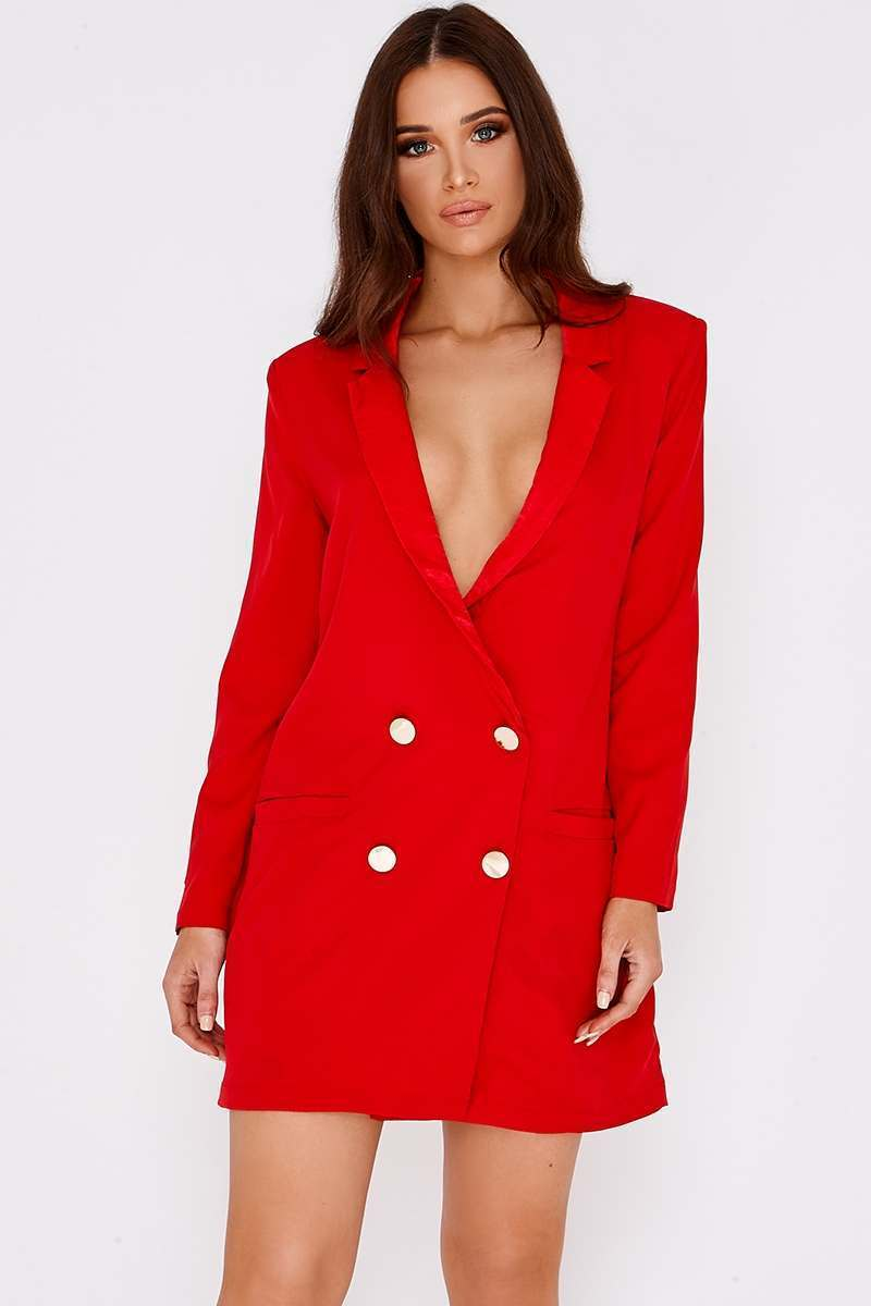 BINKY RED SATIN TRIM OVERSIZED BLAZER DRESS