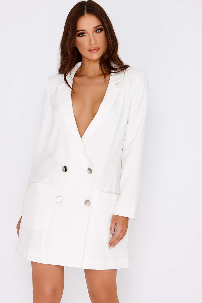 BINKY WHITE SATIN TRIM OVERSIZED BLAZER DRESS