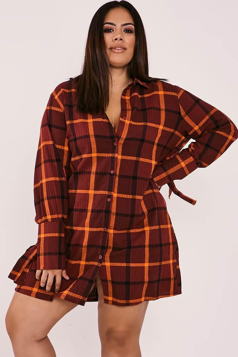 CURVE BINKY BURGUNDY CHECK TIE CUFF SHIRT DRESS