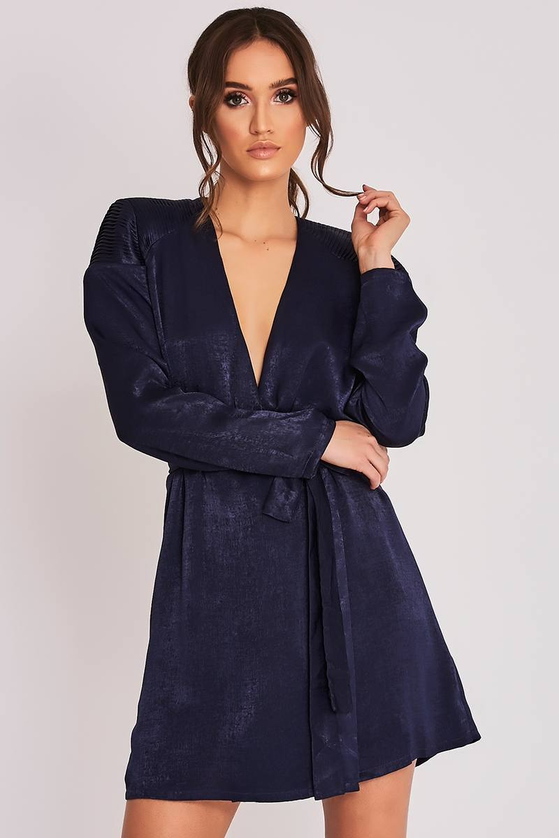 BINKY PETROL BLUE QUILTED SHOULDER WRAP DRESS