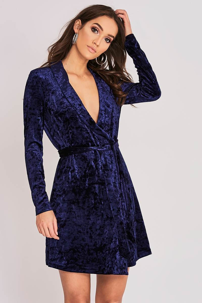BINKY NAVY VELVET WRAP DRESS
