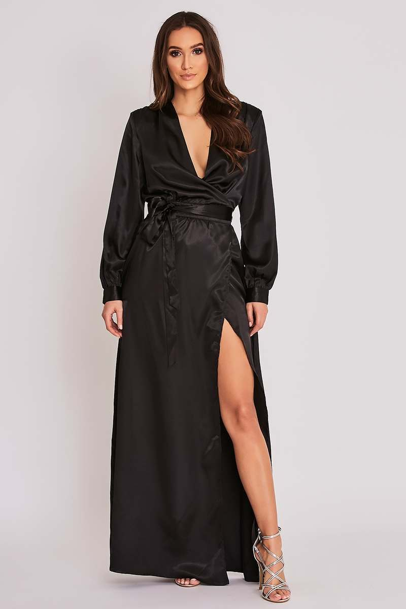BINKY BLACK SATIN WRAP FRONT MAXI DRESS