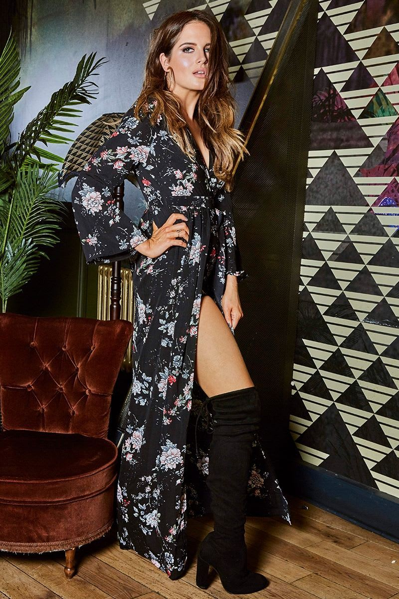 BINKY BLACK FLORAL MAXI OVERLAY PLAYSUIT