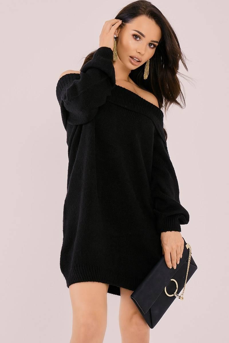 BINKY BLACK FOLD BARDOT SLOUCHY JUMPER DRESS
