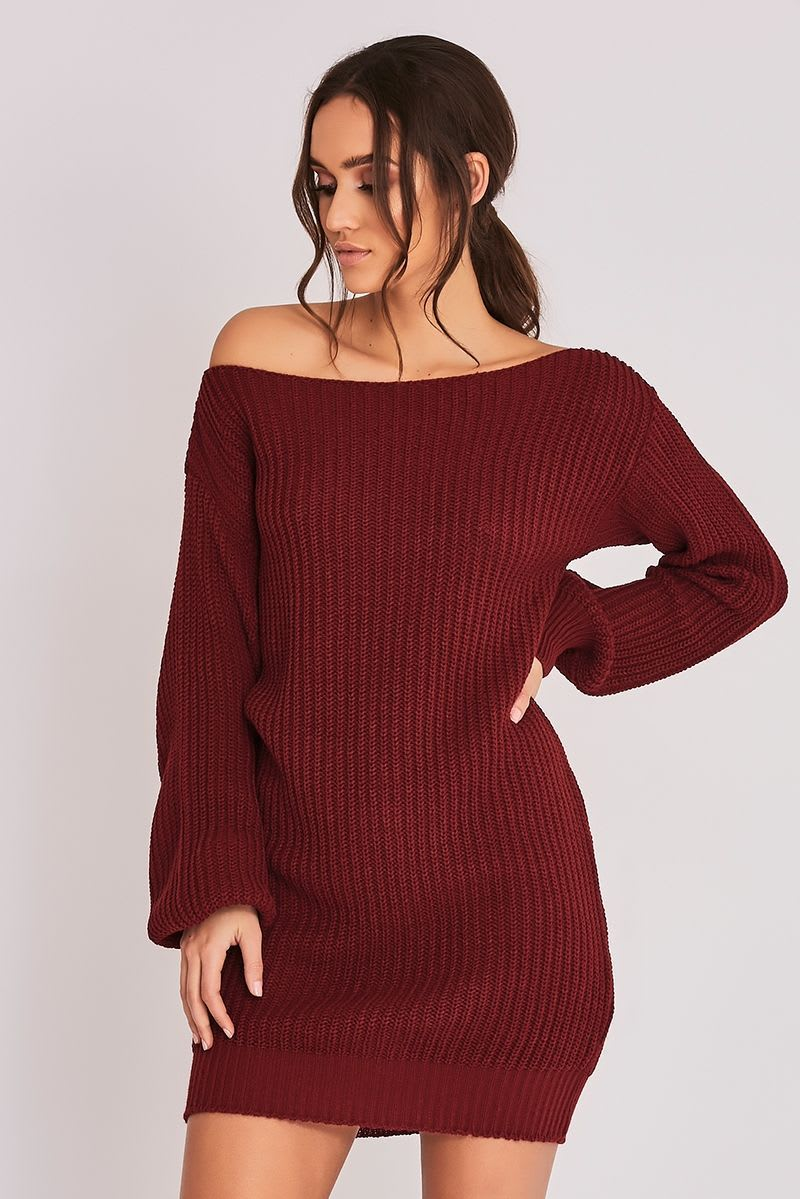 BINKY WINE OVERSIZED OFF THE SHOULDER JUMPER DRESS