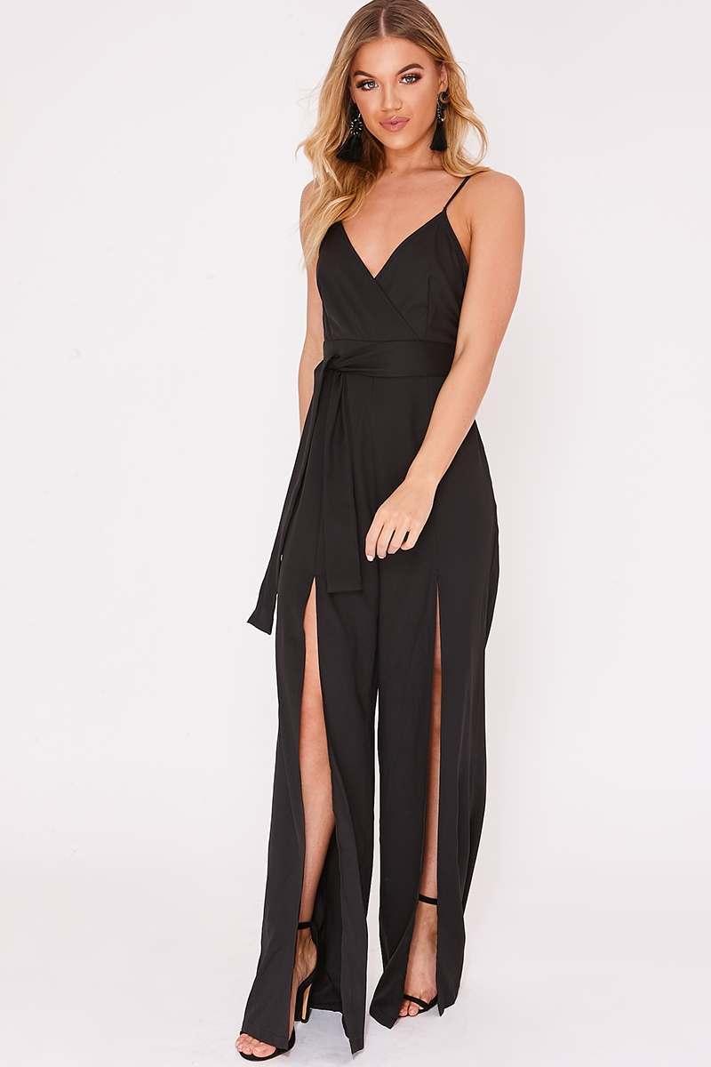 black wrap front split leg jumpsuit