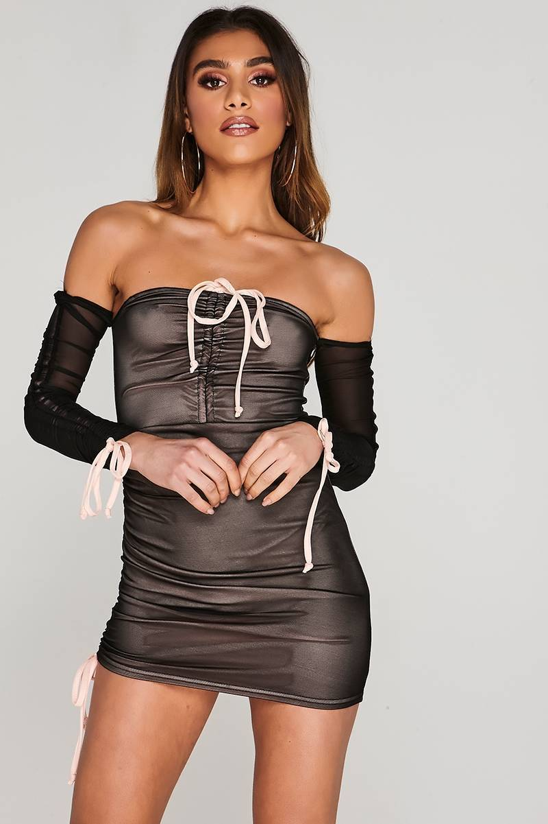 CHARLOTTE CROSBY BLACK RUCHED MESH BARDOT MINI DRESS