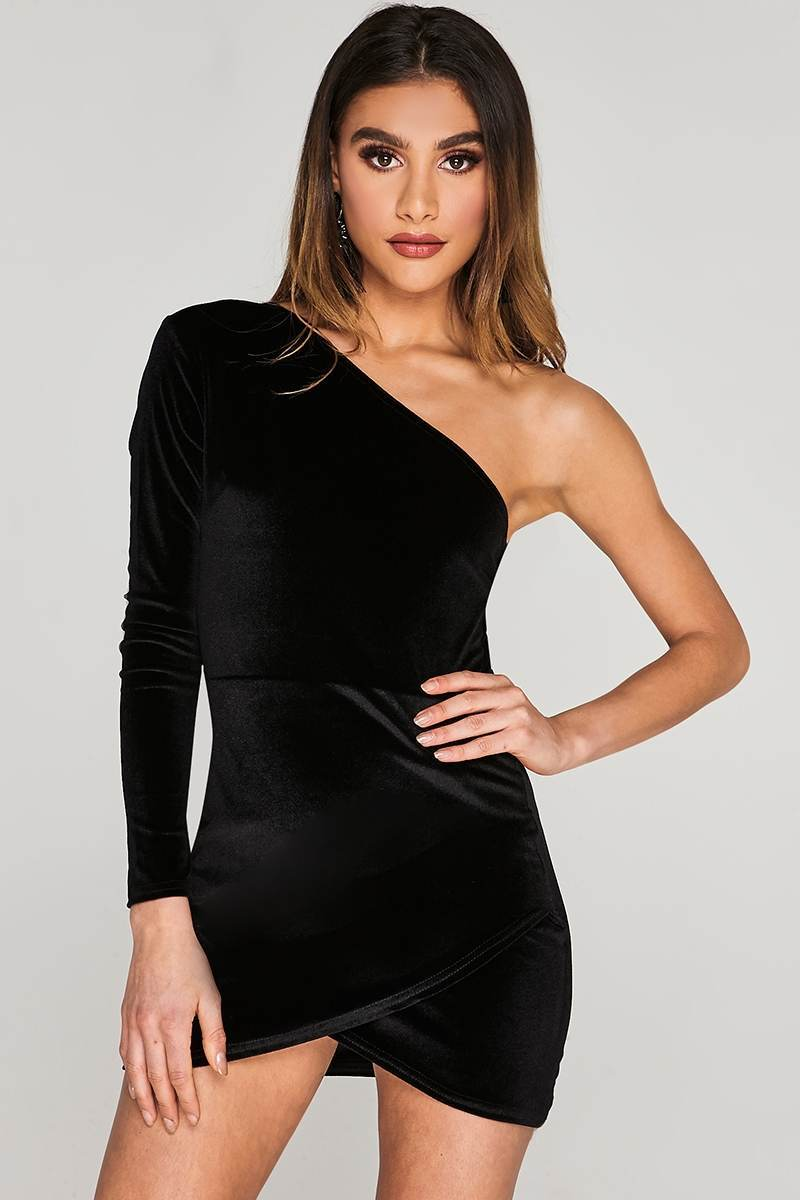 CHARLOTTE CROSBY BLACK VELVET ASYMMETRIC WRAP DRESS