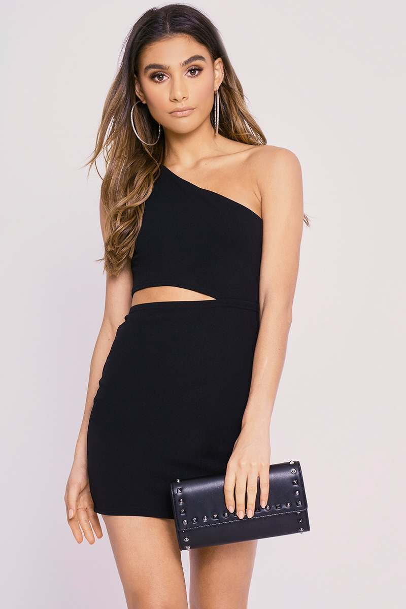 CHARLOTTE CROSBY BLACK RUCHED ONE SHOULDER CREPE CUT OUT MINI DRESS
