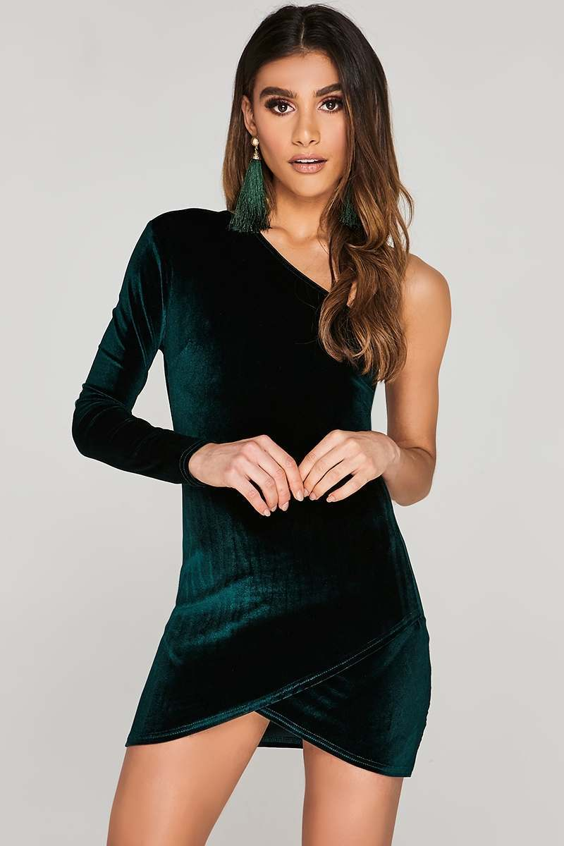 CHARLOTTE CROSBY GREEN VELVET ASYMMETRIC WRAP DRESS