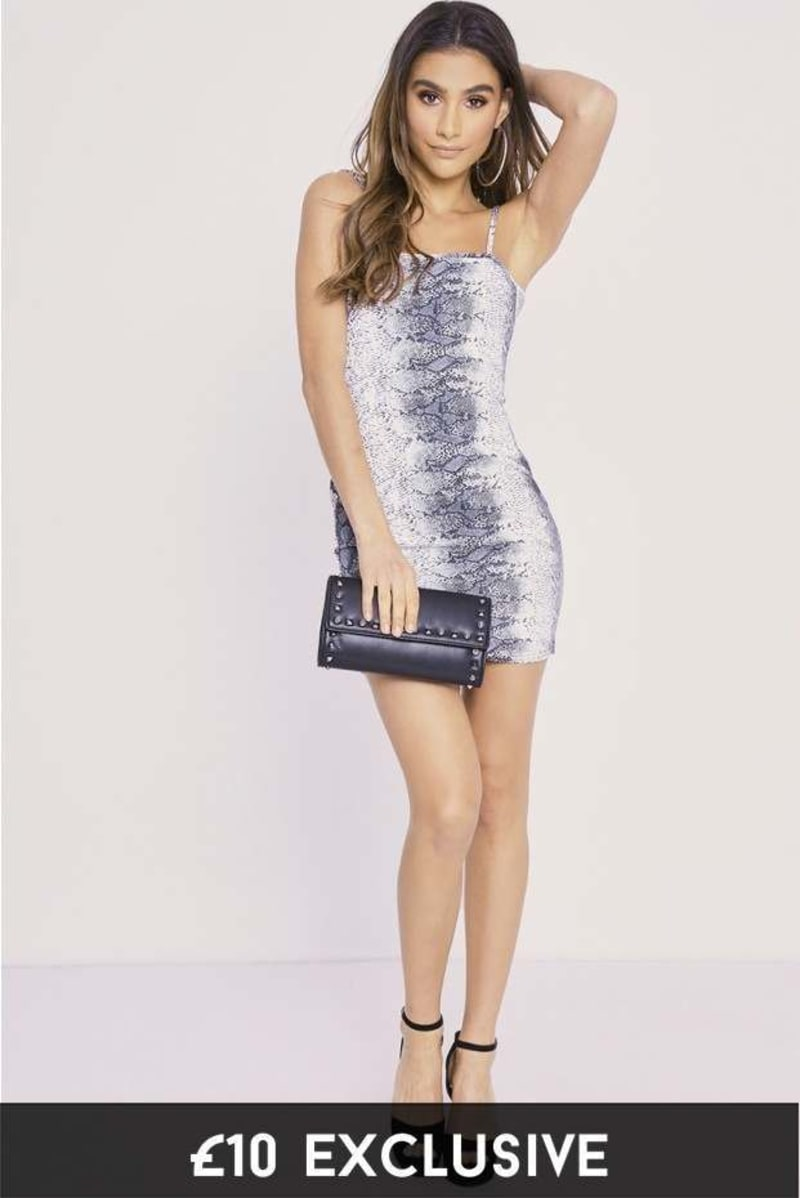CHARLOTTE CROSBY SNAKE PRINT SCOOP BACK BODYCON DRESS