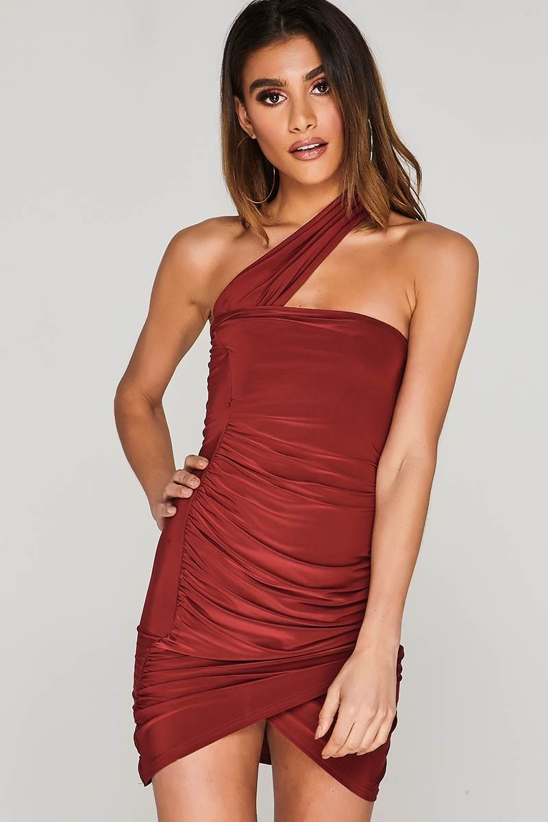 CHARLOTTE CROSBY WINE ASYMMETRIC RUCHED SLINKY WRAP DRESS