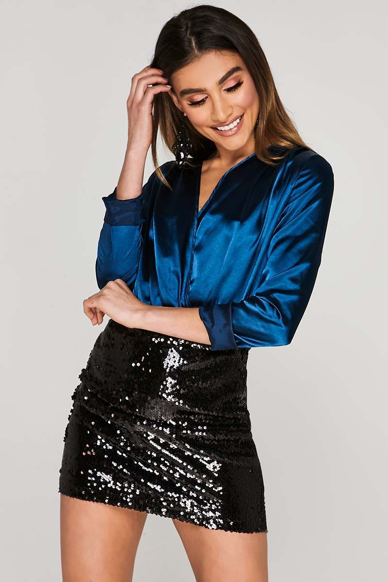 CHARLOTTE CROSBY BLUE SATIN WRAP FRONT BODYSUIT