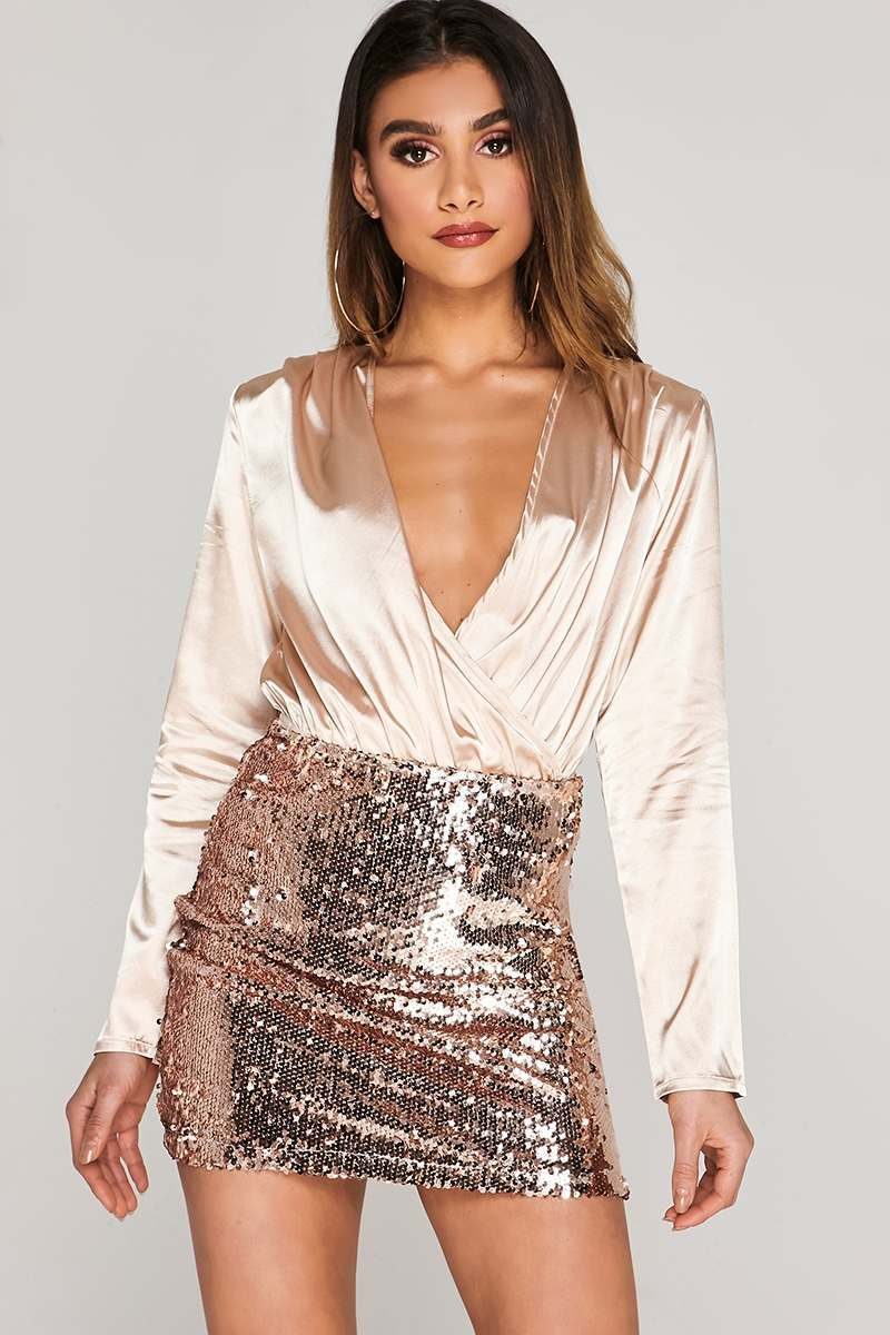 CHARLOTTE CROSBY GOLD SATIN WRAP FRONT BODYSUIT