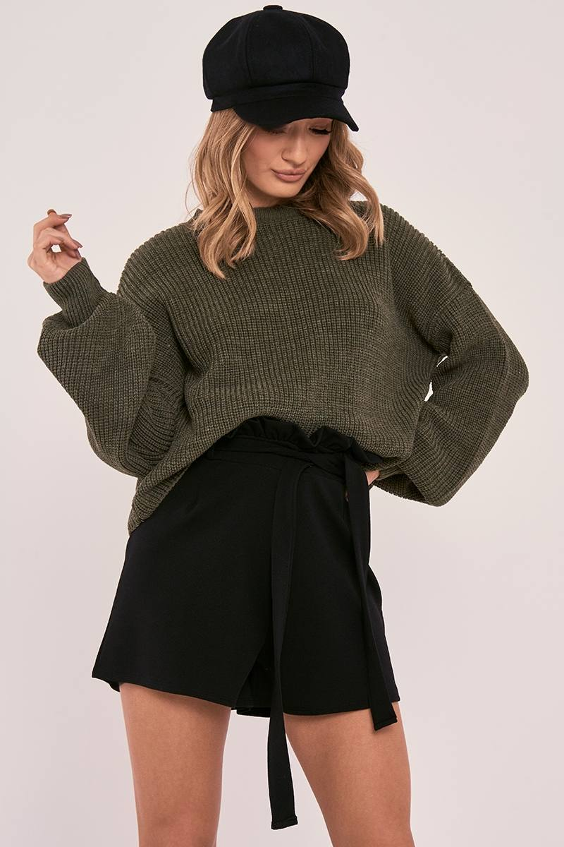 CHARLOTTE CROSBY KHAKI OVERSIZED BALLOON KNIT JUMPER