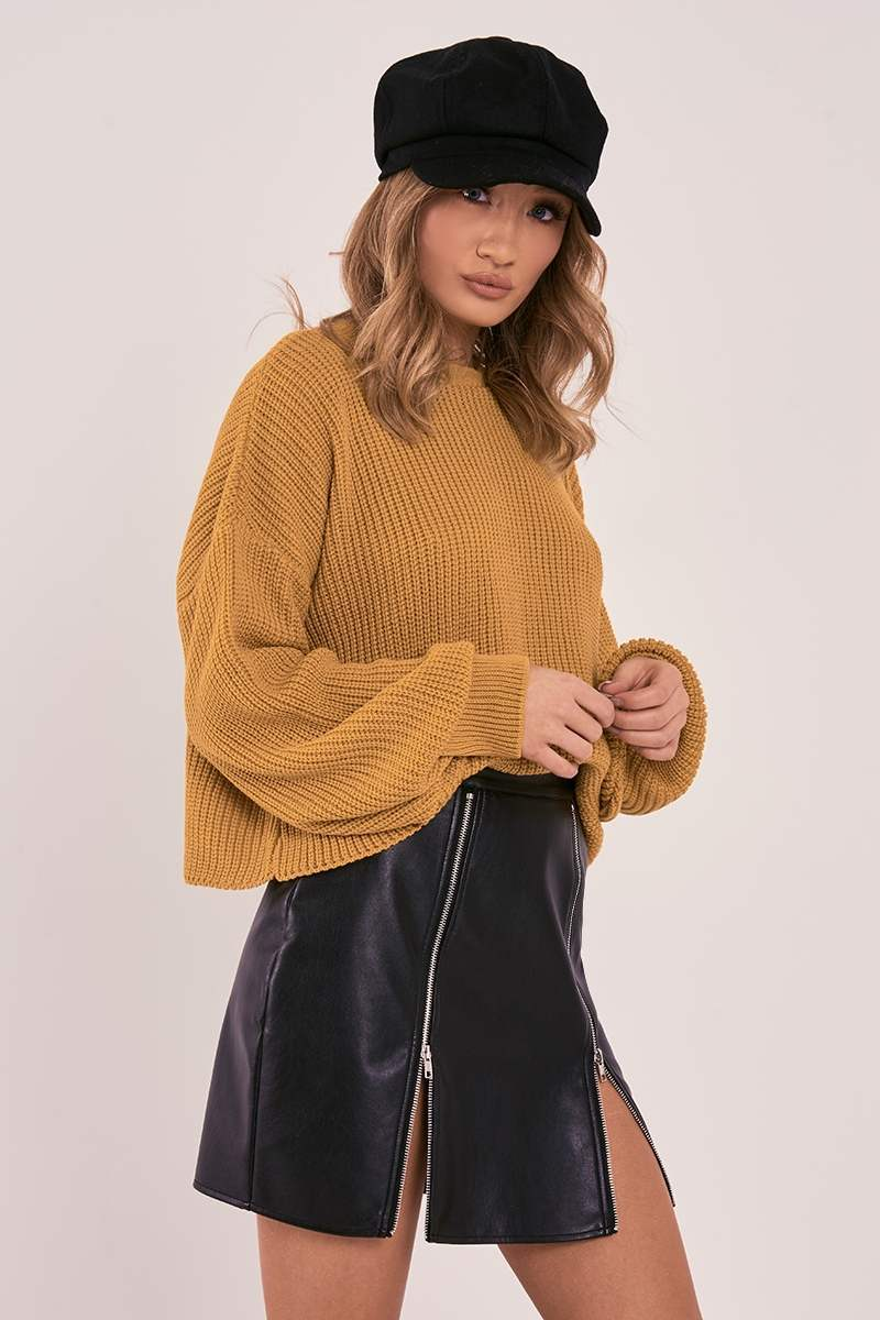 CHARLOTTE CROSBY MUSTARD OVERSIZED BALLOON KNIT JUMPER