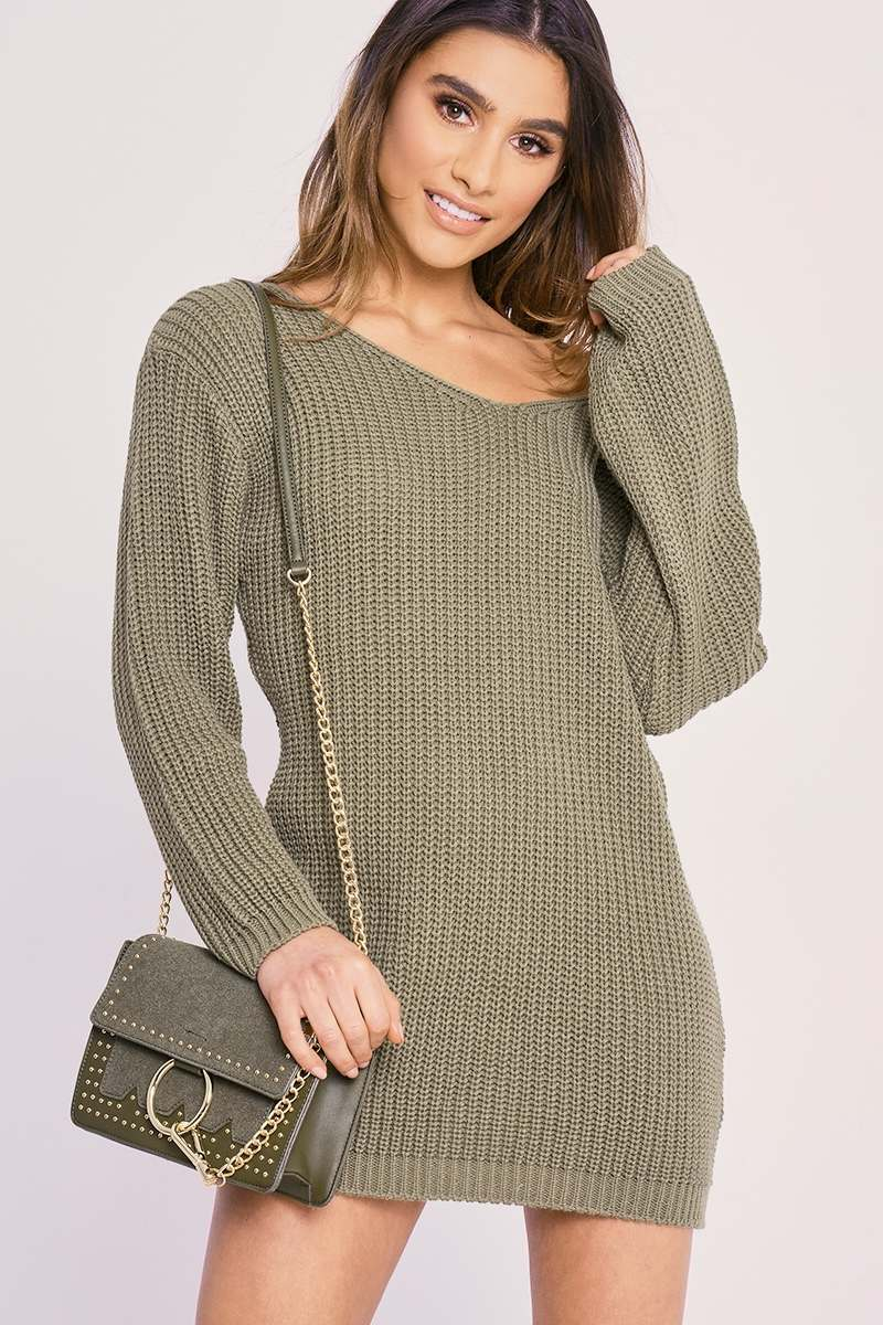 CHARLOTTE CROSBY KHAKI JUMPER DRESS