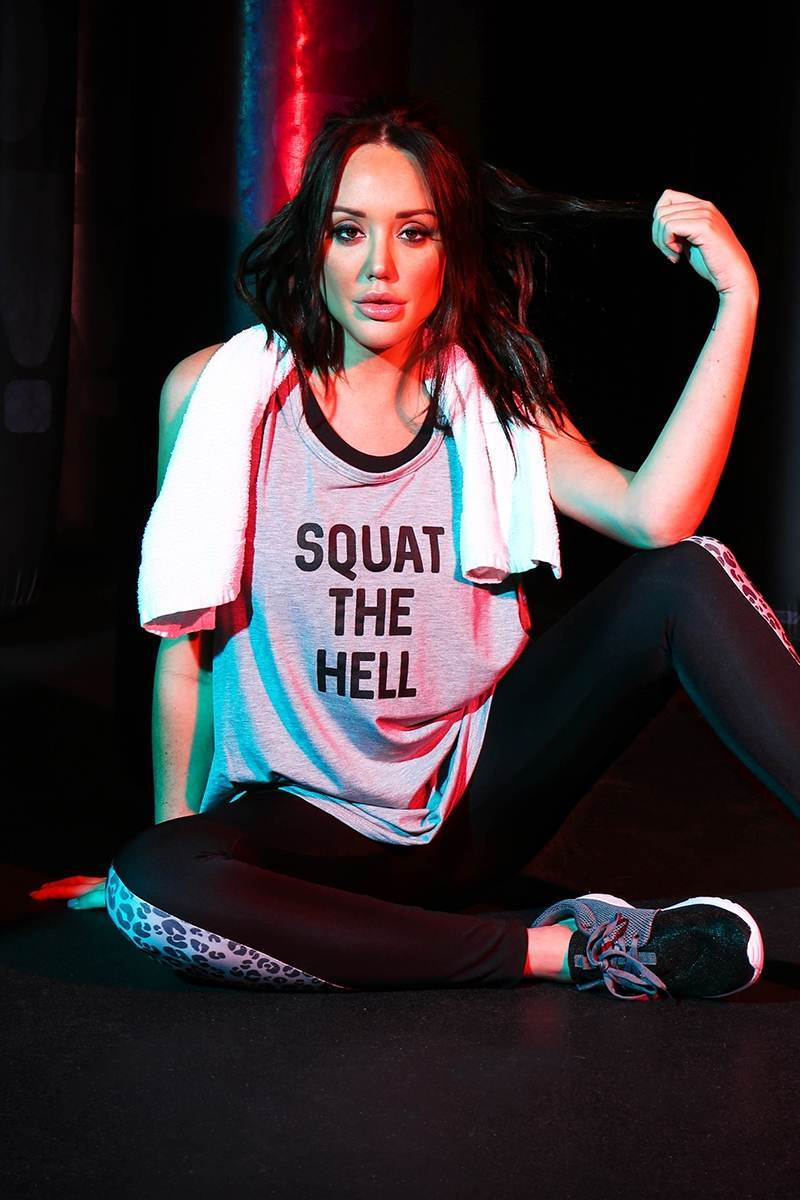 CHARLOTTE CROSBY GREY SQUAT THE HELL SLOGAN VEST TOP