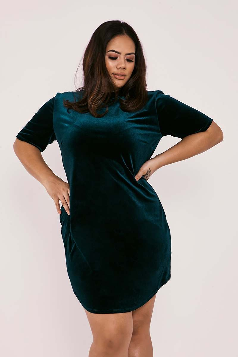 CURVE CHARLOTTE CROSBY GREEN VELVET CURVED HEM MINI DRESS