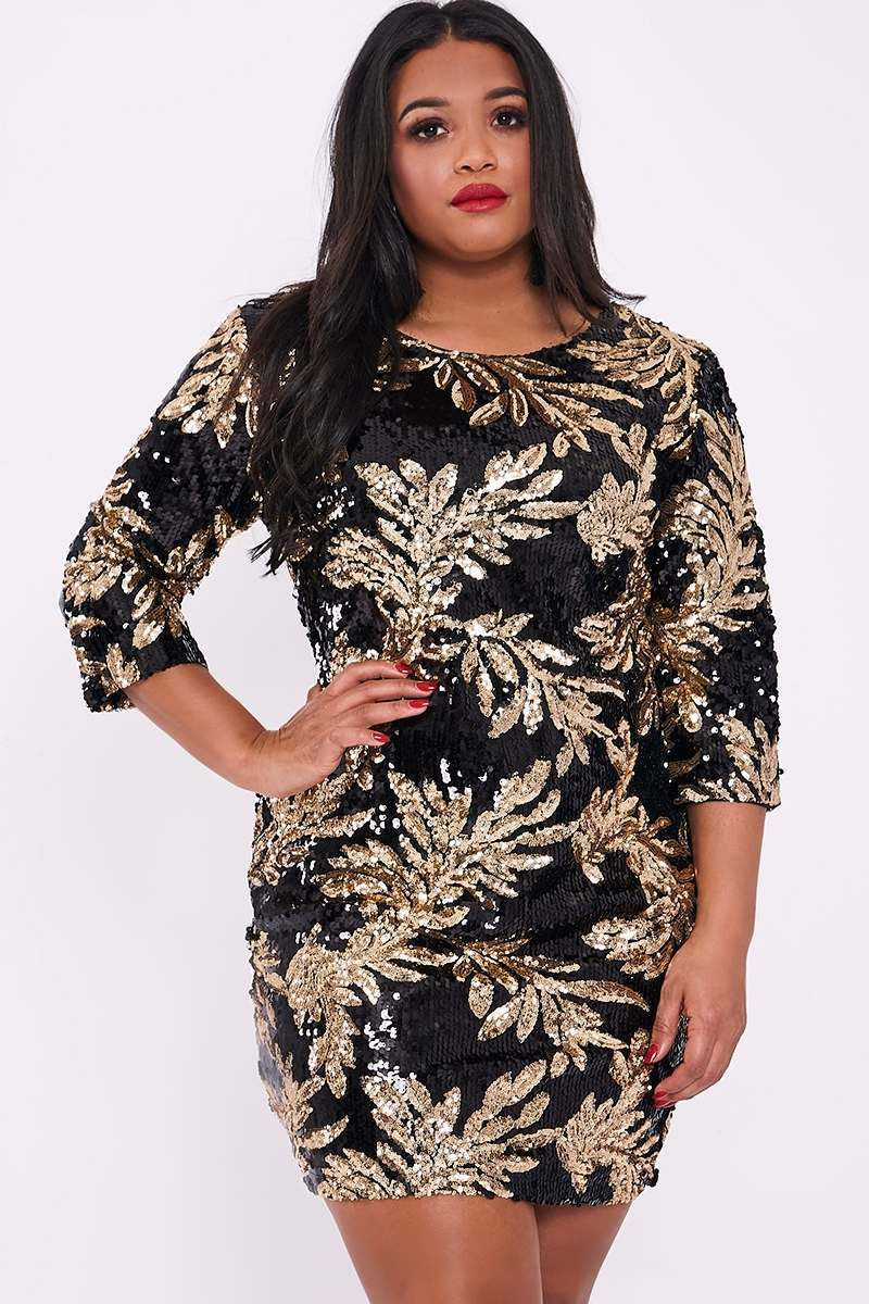 CURVE LYANA BLACK SEQUIN LEAF DRESS