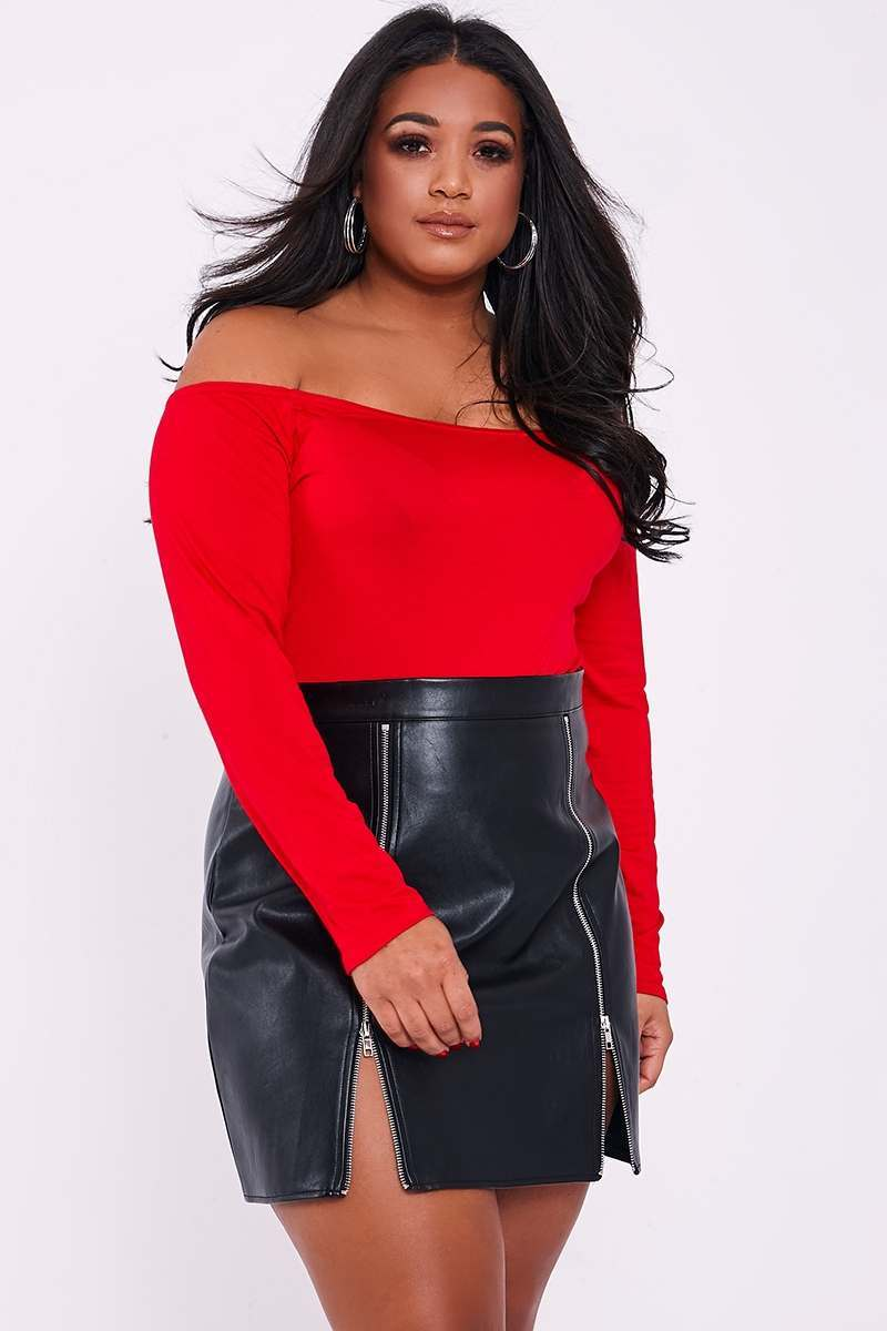 CURVE BASIC RED BARDOT BODYSUIT