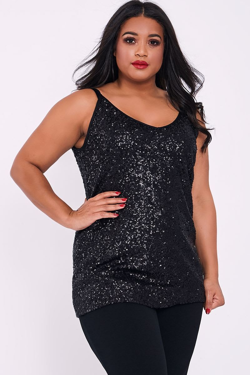 CURVE JANAE BLACK SEQUIN CAMI TOP
