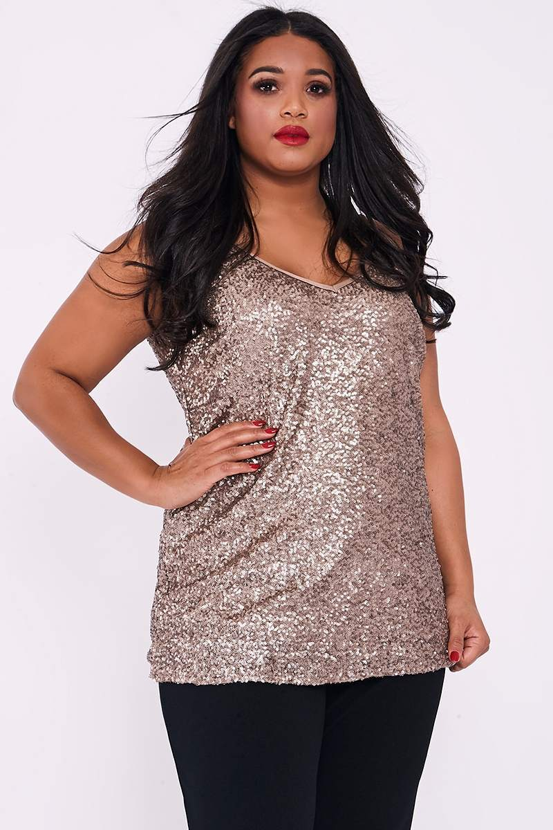CURVE JANAE GOLD SEQUIN CAMI TOP