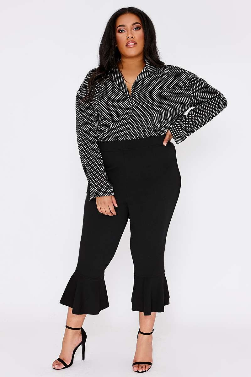 CURVE LILLIANNE BLACK FRILL LEG CREPE TROUSERS