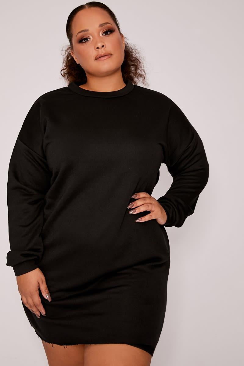 CURVE LOUNA BLACK OVERSIZED SWEATER LOUNGE DRESS
