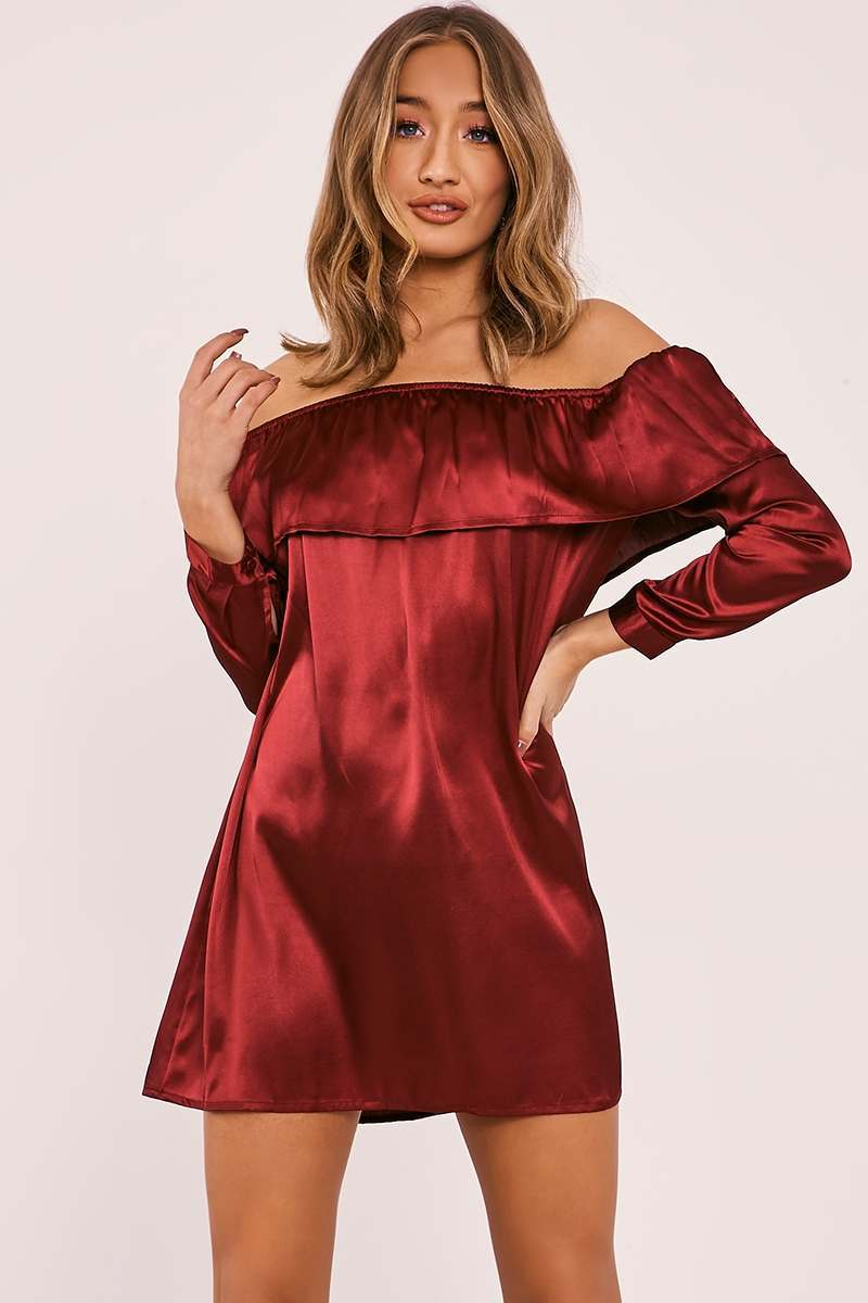 burgundy satin bardot frill dress