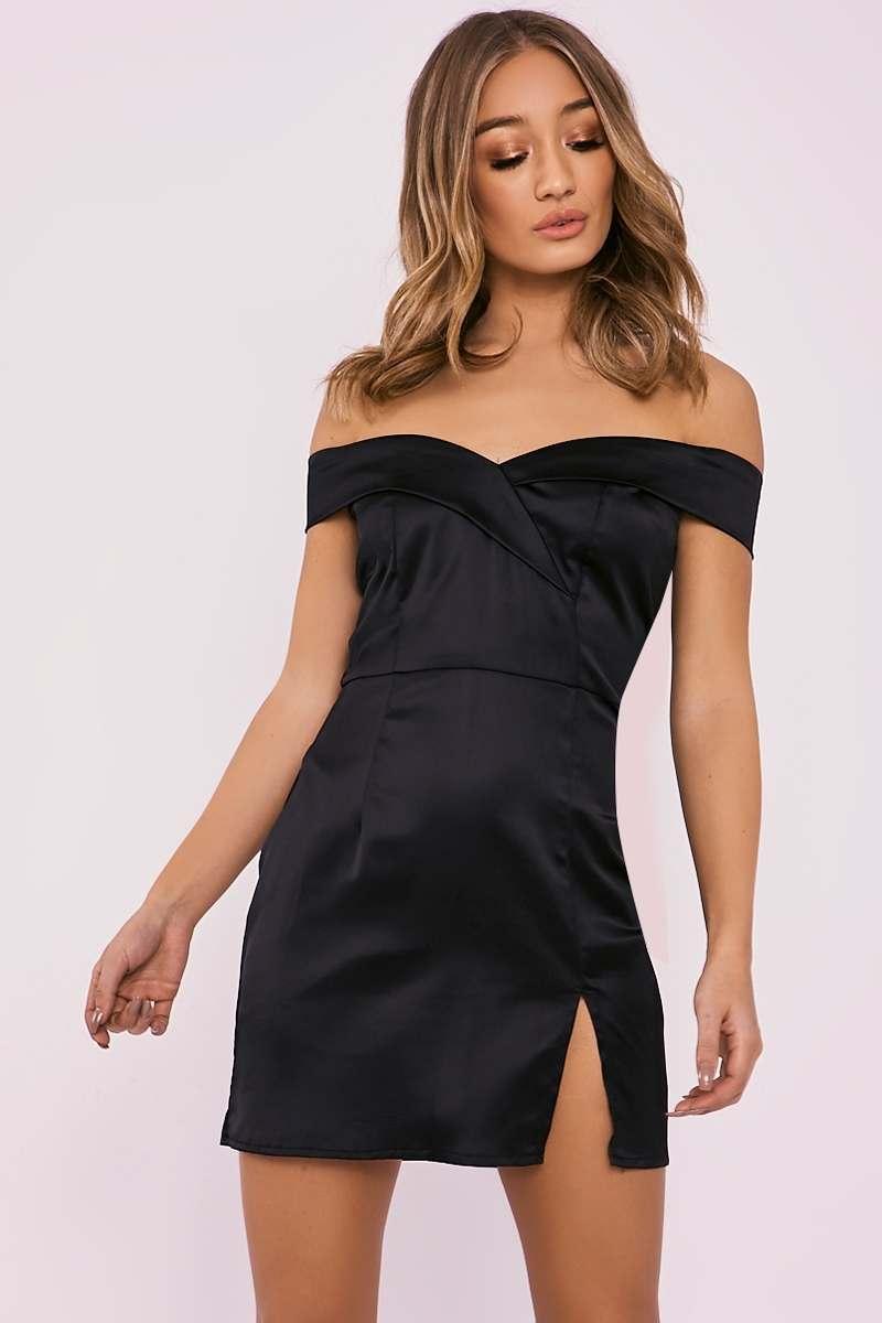 black bardot split leg satin mini dress