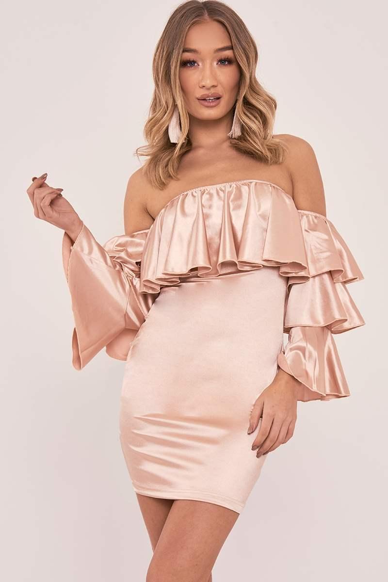 gold satin ruffle sleeve bardot dress