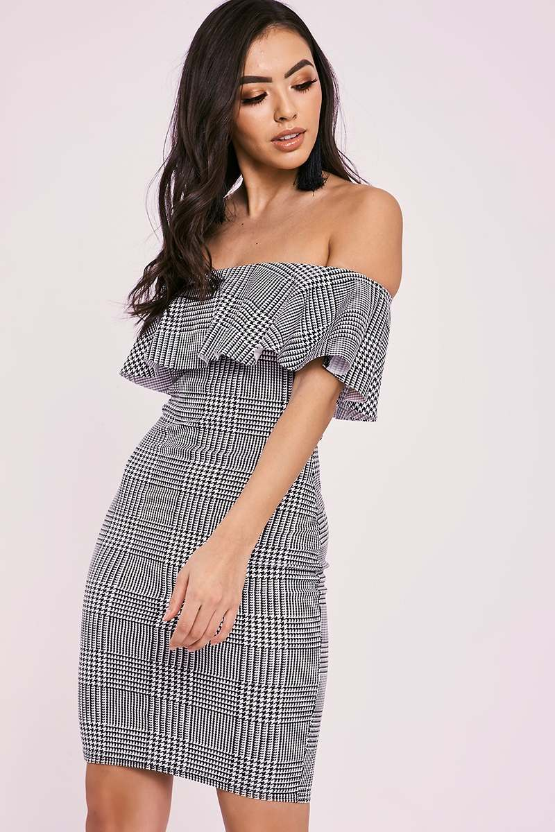 ALBIE GREY HOUNDSTOOTH BARDOT MINI DRESS