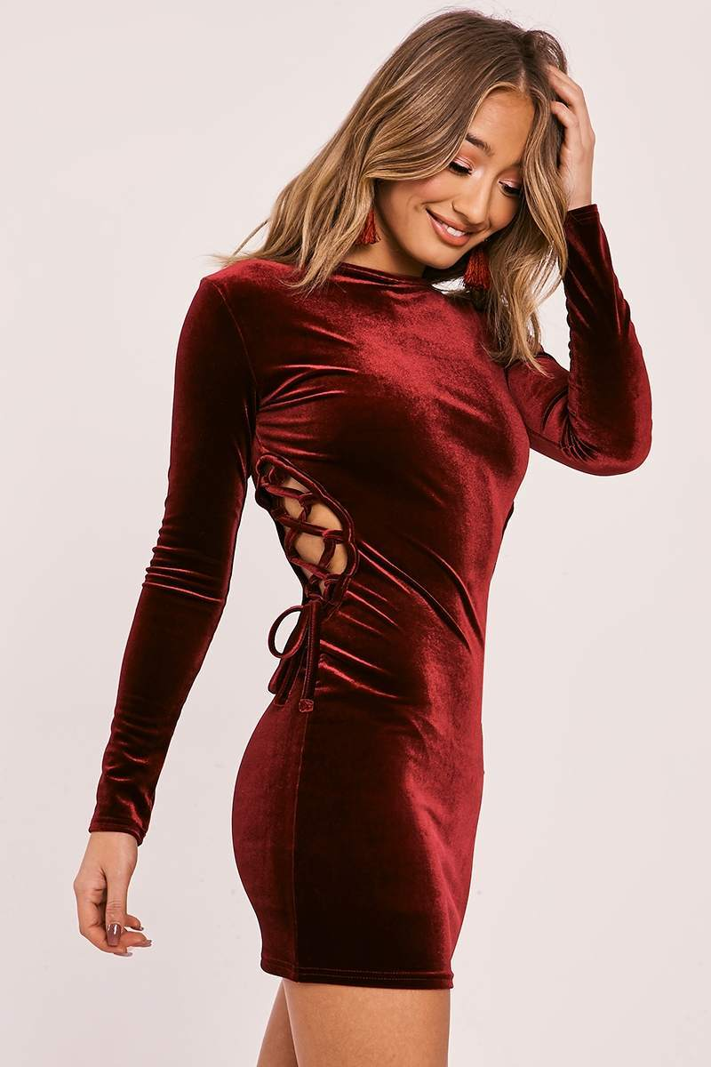 burgundy velvet lace up mini dress