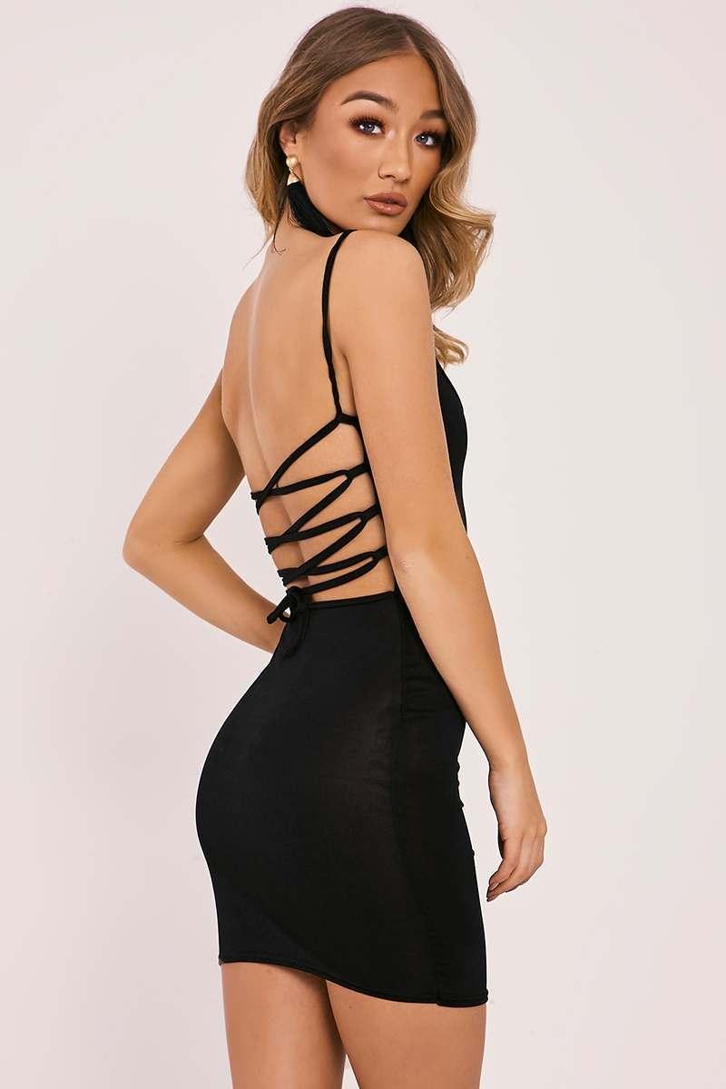 black slinky lace up back bodycon dress