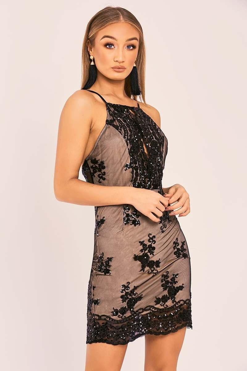 black floral sequin halterneck mini dress