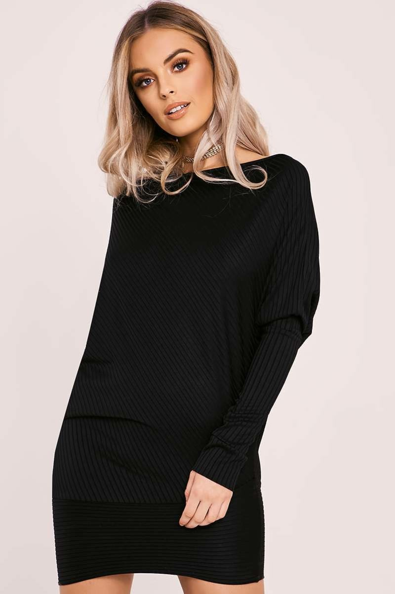 AMINA BLACK BATWING LONG SLEEVE ASYMMETRIC MINI DRESS