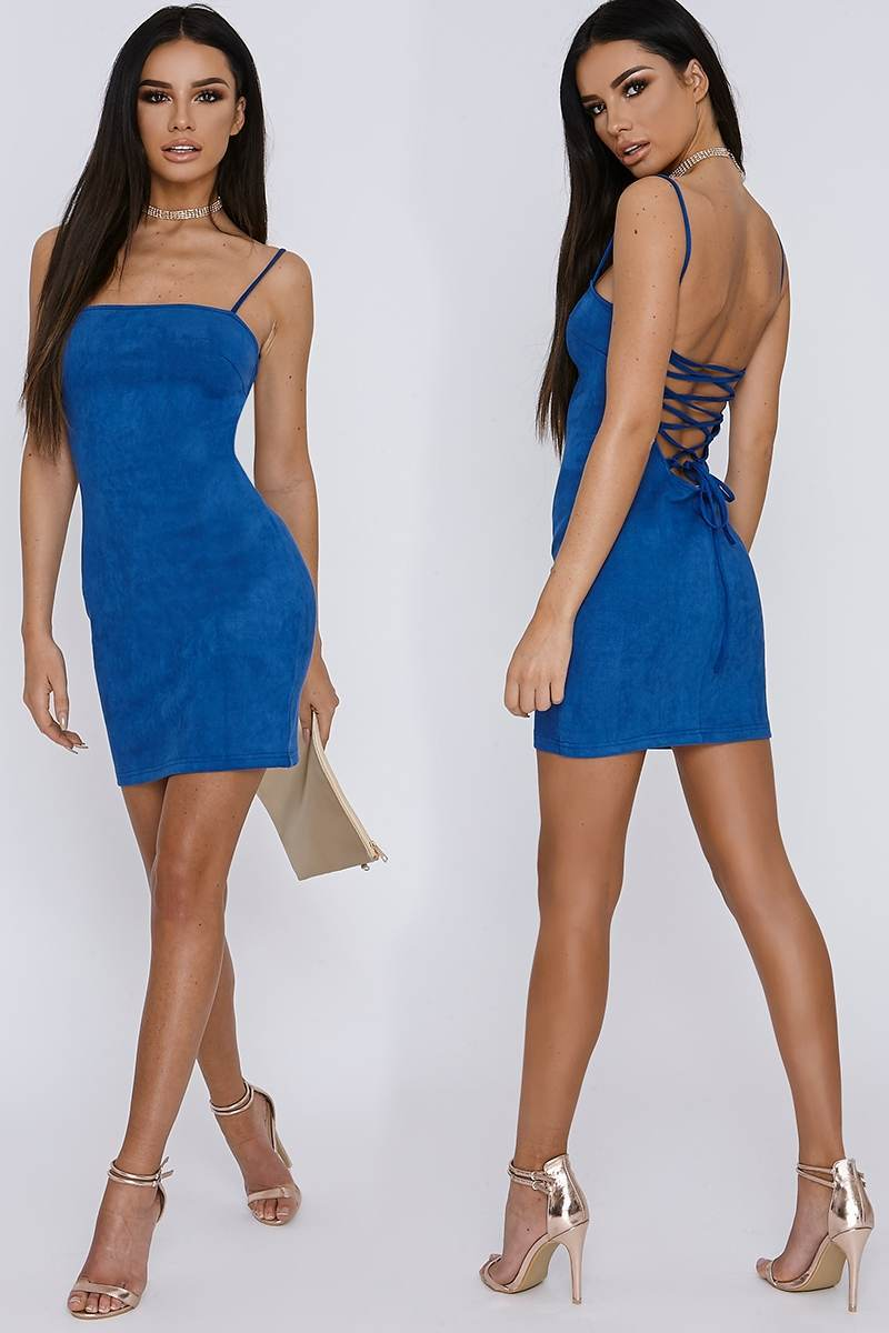 cobalt blue lace up faux suede mini dress
