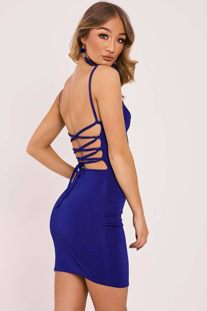 cobalt slinky lace up back bodycon dress