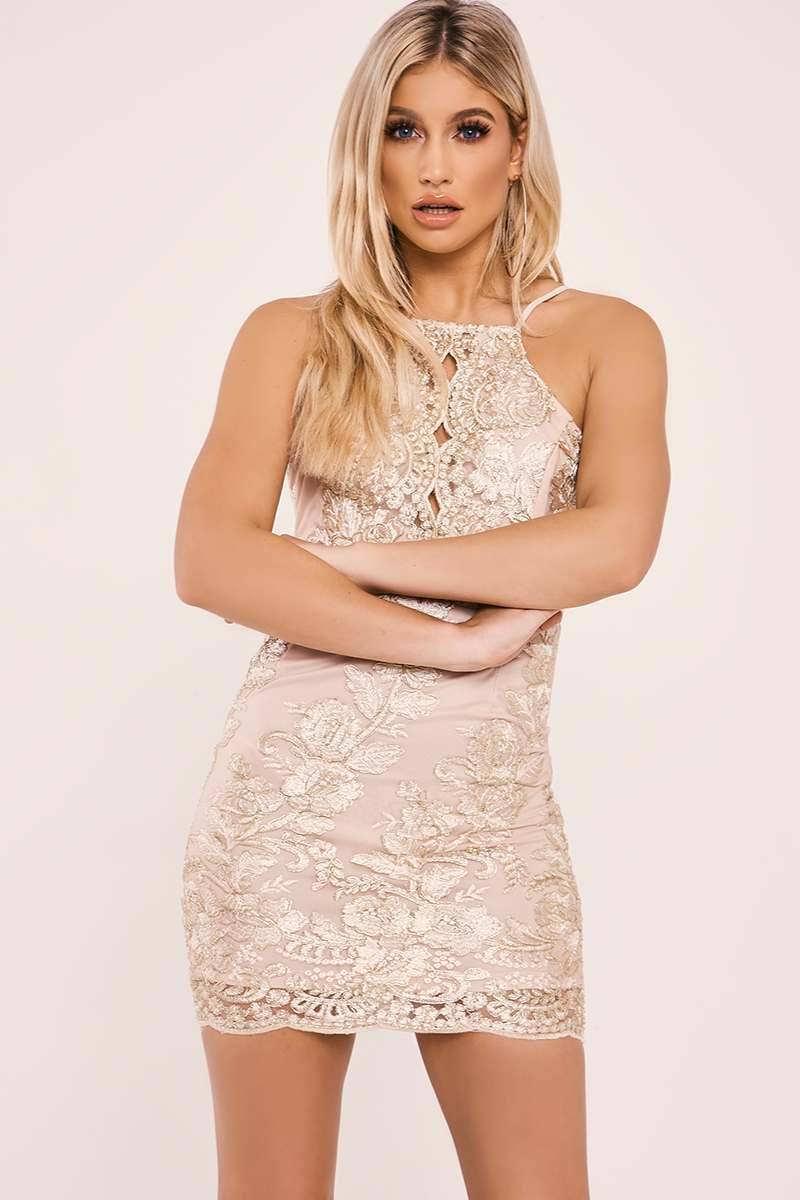 DYLANA GOLD FLORAL EMBROIDERED MINI DRESS