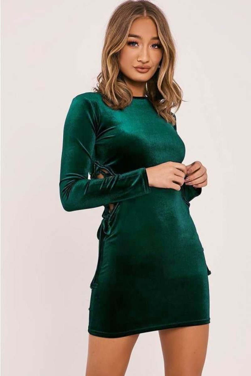 green velvet lace up mini dress