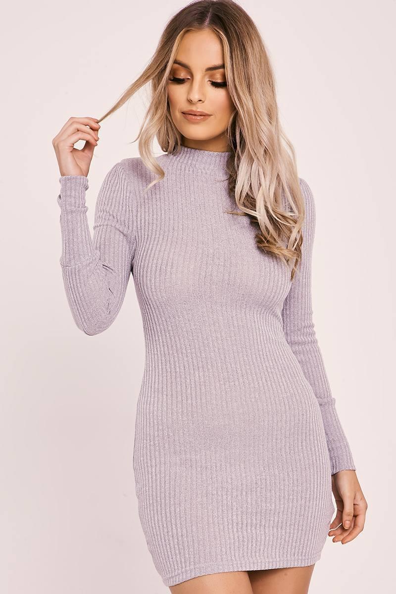 grey rib knit high neck bodycon dress