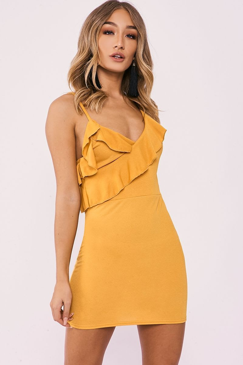 CALIN MUSTARD ASYMMETRIC FRILL MINI DRESS