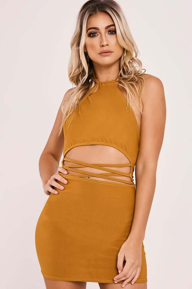 mustard strappy waist halterneck mini dress