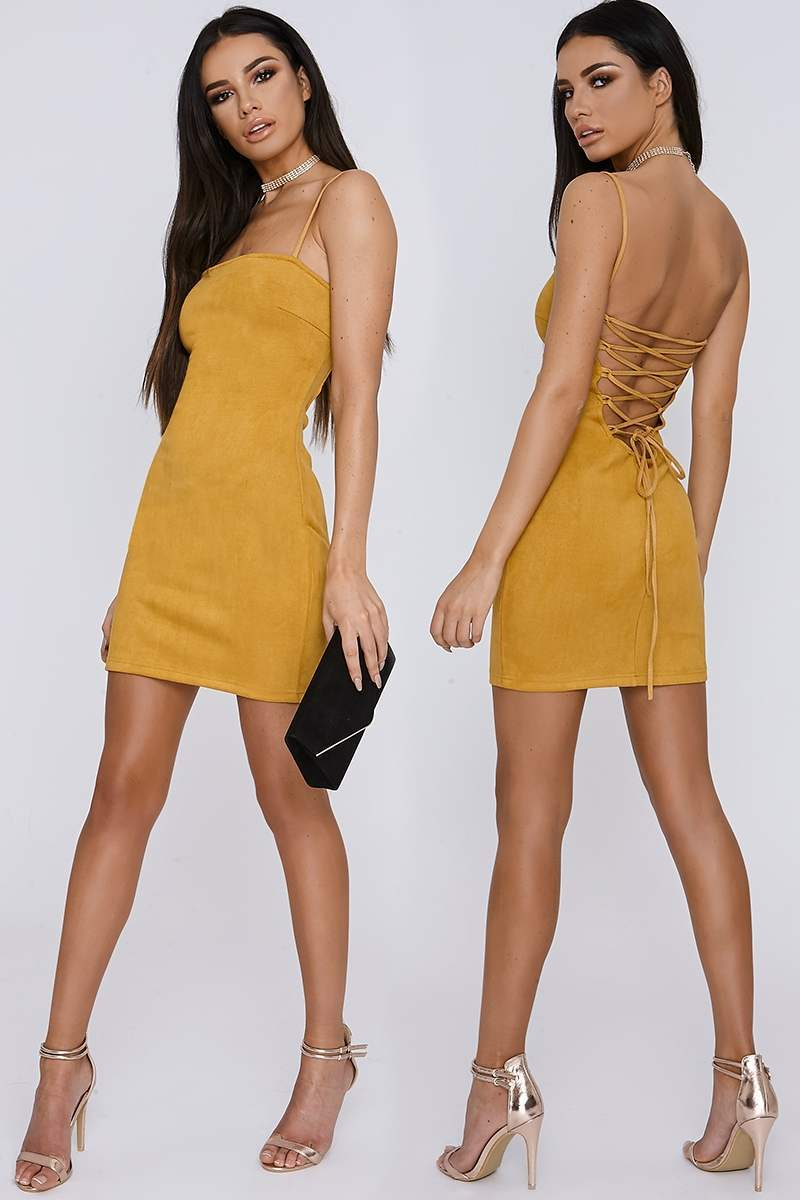 SARAH ASHCROFT MUSTARD LACE UP FAUX SUEDE MINI DRESS