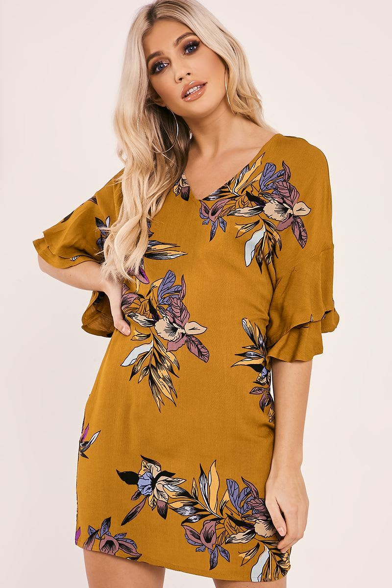 mustard floral print frill sleeve mini dress