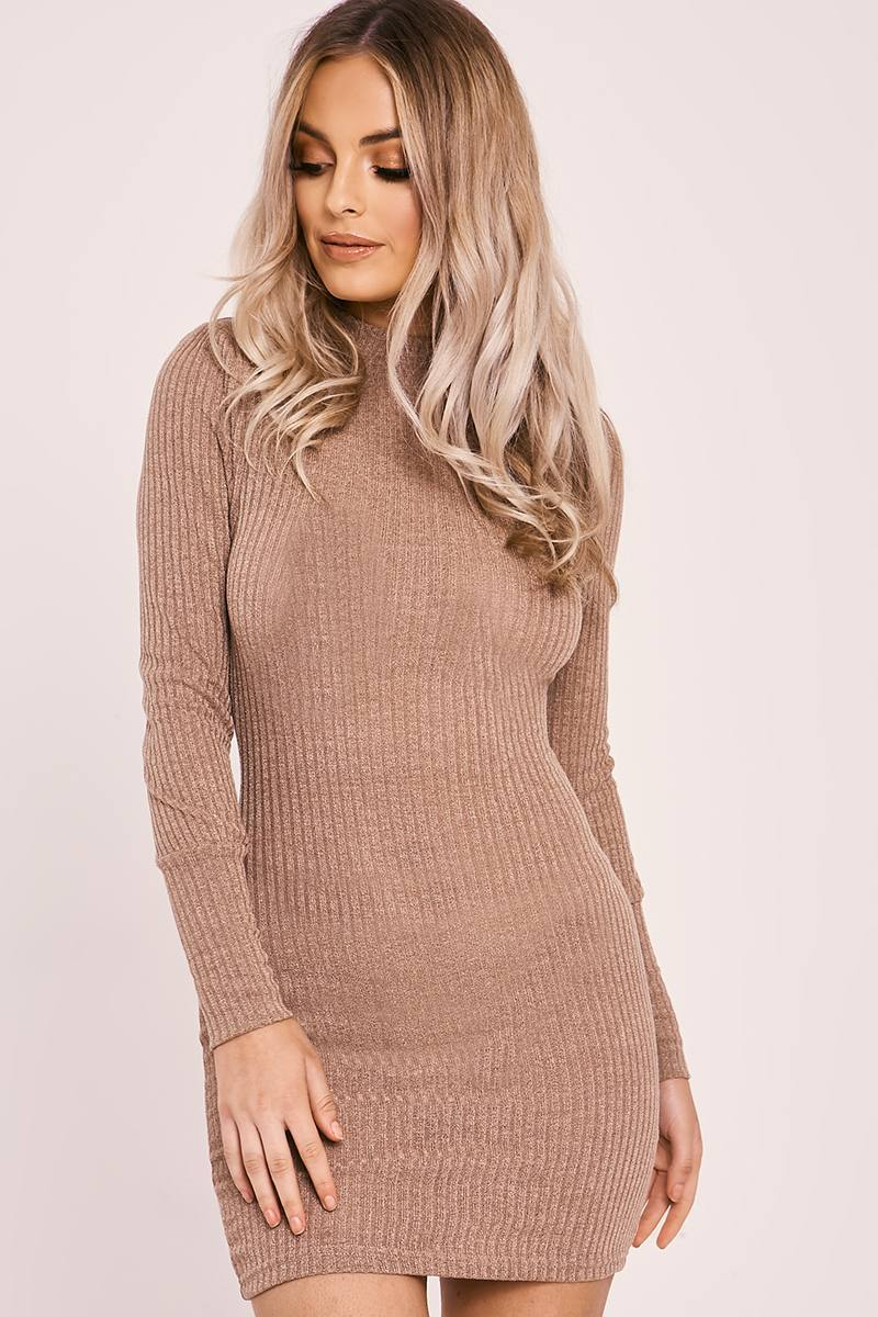 tan rib knit high neck bodycon dress