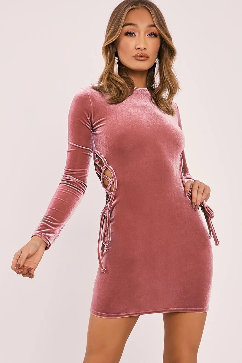 rose pink velvet lace up mini dress