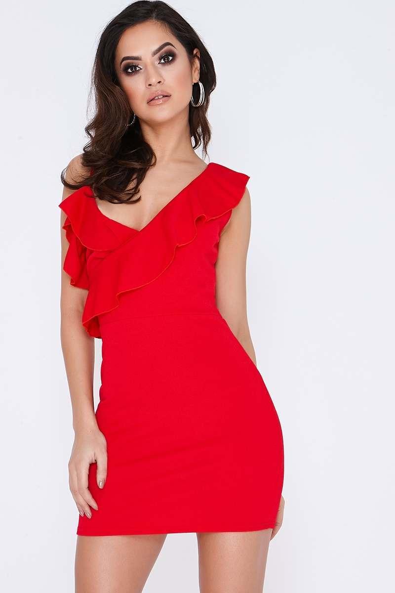 red asymmetric frill mini dress