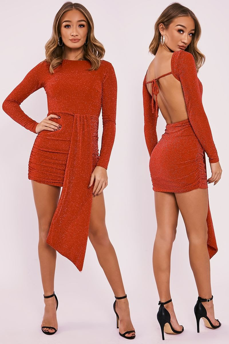 red lurex sparkle drape front backless dress